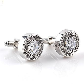 Luxury Cufflinks's And Women Zircon White Purple Crystal Clear Cuff Button