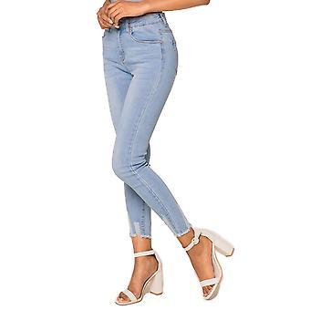 Womens Denim Ankle Jeans Skinny Stretch Midja Crop Pants förstörde smala byxor