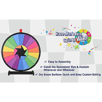 """WinSpin® 24"""" Tabletop Editable Color Prize Wheel 18 Slot Spinning Game with Dry Erase Tradeshow Carnival"""