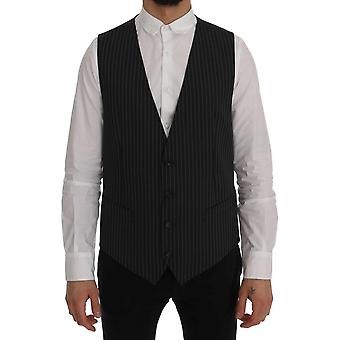 Dolce & Gabbana Gray Wool Stretch Pin Striped Waistcoat Vest