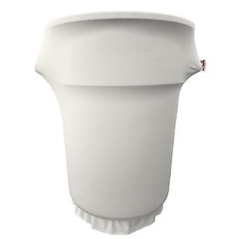 La Linen Spandex Cover Fitted For 55 Gallon Trash Can On Wheels, White