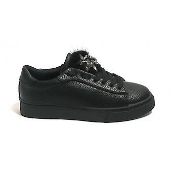 Women's Gold&gold Sneaker In Ecopelle With Black Rhinestones D19gg19