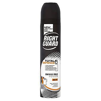 Right Guard # Total Defence 5 Invisible Power Aerosol For Him DISCON#