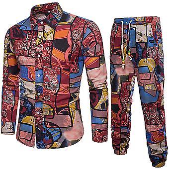 YANGFAN גברים חולצות אתניות להדפיס בסגנון סיני שני חלקים מכנסיים פשתן סט