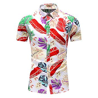 Yunyun Men's Botanical Print Hawaiian Pointed Collar Short Sleeve Vogue Beach Shirt
