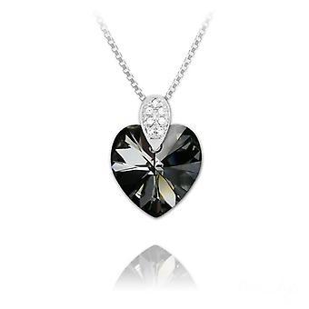 Hopea swarovski kristalli sydän kaulakoru