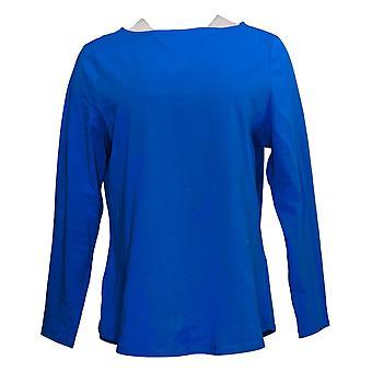 Denim & Co. Women's Top Essentials Jersey Boatneck Curved Hem Blue A388940