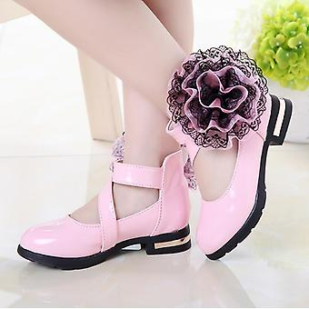 Kids Shoes High Heel Princess Flower Fashion Leather Party Dress Wedding Dance