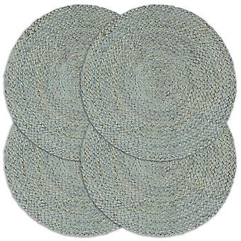 sets de table vidaXL 4 pcs. Uni vert olive 38 cm Jute rond