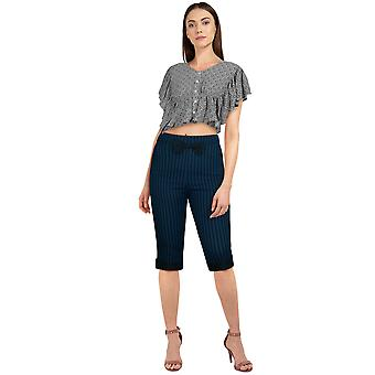 Chic Star Plus Size Bow Retro Pants In Blue/Black