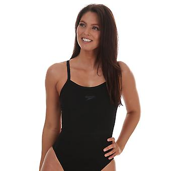 Costume da bagno speedo solid turnback da donna in nero