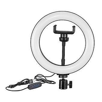 Ring Light 8 Inch LED Fill Light USB Powered Stepless Dimming with Ball Head Phone Clamp