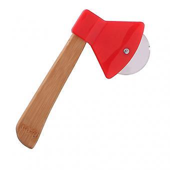 hacha cortadora de pizza 20 x 10 cm de bambú / acero inoxidable marrón / rojo