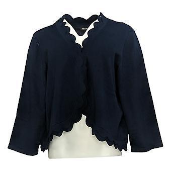 Nina Leonard Women's Sweater Reg Double Scallop Knit Bolero Blue 685873