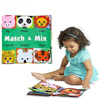Animal Face Match Cloth Book With Sound Paper Bb Device Bell Educational Baby Fabric Book