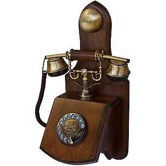 Wokex Opis 1921 Kabel - Modell D - Retro Wand Telefon aus Holz und Metall Telefon mit echter,