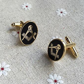 Oval masonic golden cufflinks