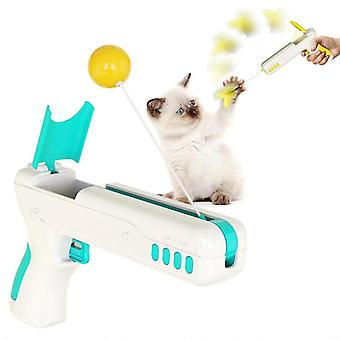 Funny Interactive Cat Toy With Feather Ball Cat Stick Gun for Kittens Puppies Pet(blue)