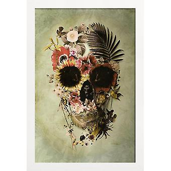 JUNIQE Print - Garden Skull Light - Skulls Poster i Grått & Grönt