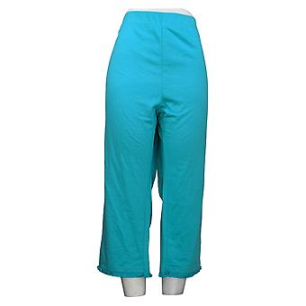 Quacker Factory Women's Pants Reg Pull-On French Terry Crop Blue A308125