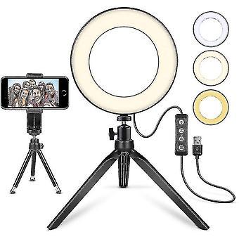 Led Ring Light 6'' med stativ stativ mini led kameralampa med mobiltelefonhållare