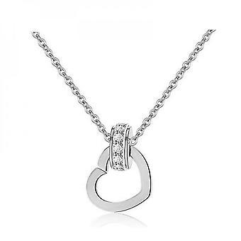 Heart Charm Hänge & Örhänge Set täckt med kristaller från Swarovski Silver - 2 Pack