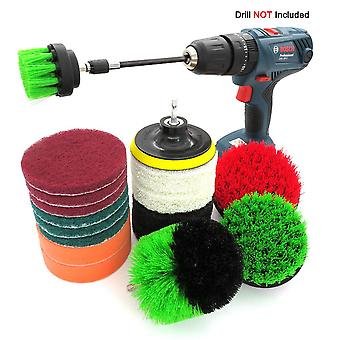 18 Pieces Of Electric Drill Brush Head Set, Cleaning Brush, Scouring Pad, Floor Porcelain Cleaning And Descaling