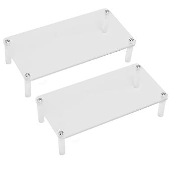 2 x Single-layer Acrylic Clear Display Stand Shelf for Product Organizer