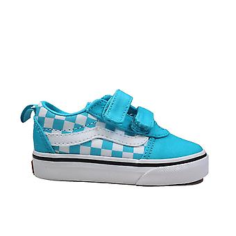 Vans Toddler Ward V (Checkerboard)Scubabl/White Canvas Childrens Rip Tape Sneakers