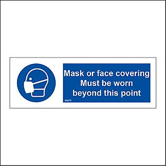 MA670 Mask Or Face Covering Must Be Worn Beyond This Point Sign with Mask Face