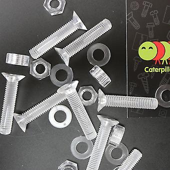 20 x Crosshead Countersunk Akryl, Muttrar och brickor Bultar, M8 x 40mm