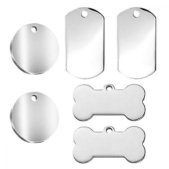 6pcs Dog Tags Pet Id Tags Stainless Steel Blank No Lettering Tag For Stainless Steel Personalised Pet Identity Name Tags, Laser Engraving, 3 Specifica