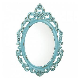 Accent Plus Baby Blue Royal Crown Wood Wall Mirror, Pack of 1