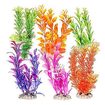 "Aquatop Plastic Aquarium Plants Power Pack - Assorted Colors - 12 Pack - (7"" High Plants)"