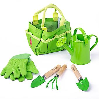 Children's Small Tote Gardening Bag with Tools, Watering Can and Gardening Gloves