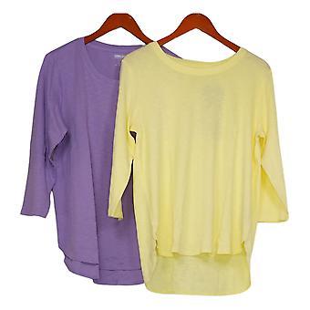 Kirkland Signature Women's Top Slub Tee, 2-pack Yellow