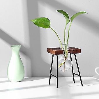 Nordisk stil miljövänligt glas och trävasplanterare terrarium(J)