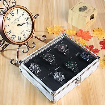 אלומיניום סקוור תכשיטים 12 חריצי רשת שעונים להציג תיבת אחסון מארז