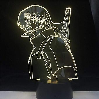 Kids Cadeau Anime Naruto Itachi Night Light Touch Sensor Chambre 3d Illusion Night Light Ledanime Lampe Colorée Télécommande Night Light Home Gadgets