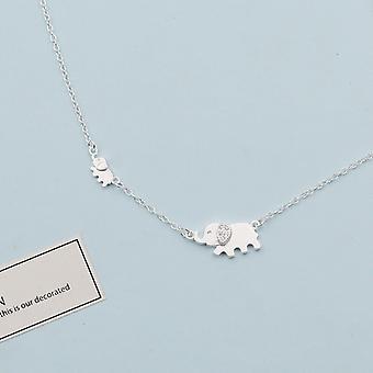 Collier couleur argent pour femmes, pendentif lucky elephant, cadeau de fête, S925