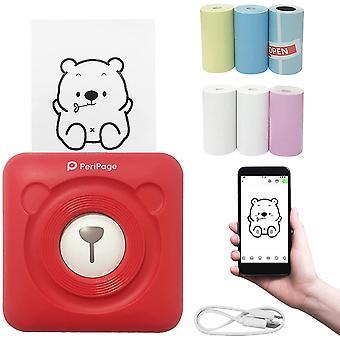 Smart fotoskriver, mini termisk skriver, øyeblikkelig klistremerkeskriver, liten smarttelefonskriver for ios- og Android-telefoner, med 6 +1-utskriftspapirrull