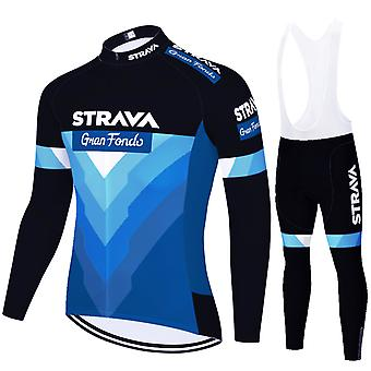 Strava Men's Cycling Jersey Long Sleeves Pro Team Bicycle Clothing - Blue