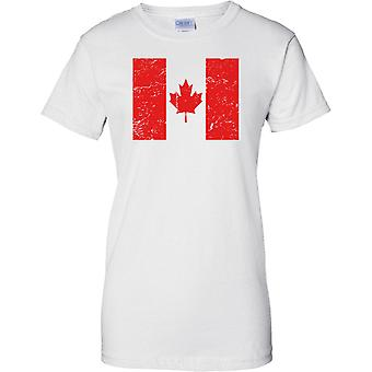 Kanada gequält Grunge Effekt Flaggendesign - Damen-T-Shirt
