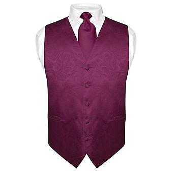 Men's Paisley Design Dress Vest & NeckTie Neck Tie Set