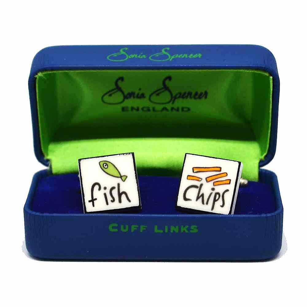 Fish & Chips Cufflinks by Sonia Spencer, in Presentation Gift Box. Hand painted