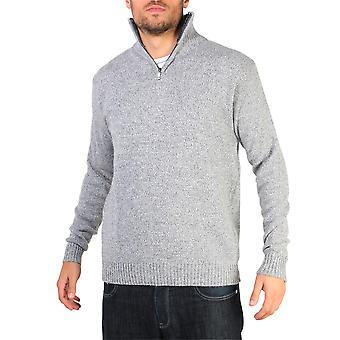 Krisp mens soft wool knit half zip funil pescoço jumper camisola top grandad pullover top
