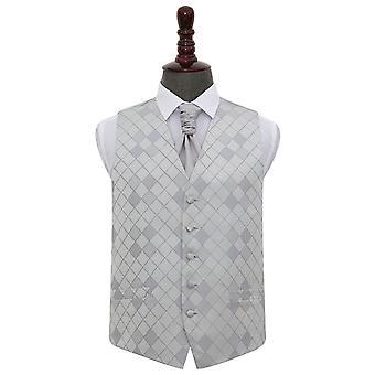 Zilveren Diamond Wedding gilet & Cravat Set