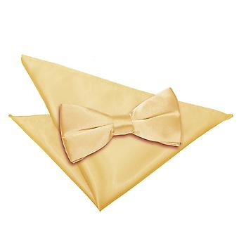 Pale Yellow Plain Satin Bow Tie & Pocket Square Set