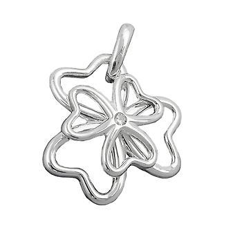 Silver glänsande hänge clover cubic zirconia 925 sterlingsilver