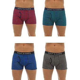 Wolf & Harte Cotton Stretch Striped Boxer Short Trunk (Pack of 4)